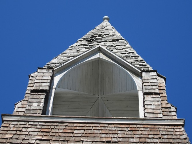 Empty steeple--the bell sits at street level now.