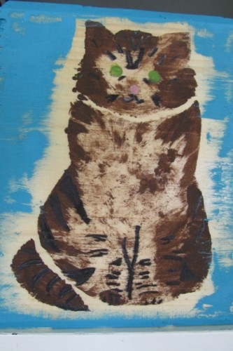 Dinah Jane, five, stenciled this likeness to GraceCat.