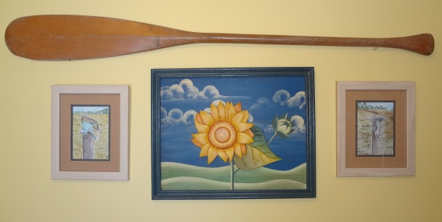 My father's paddle serves two purposes: it's a great reminder of him and sunny days afloat on calm water--as well as what it takes on the not-so-sunny days to keep a relationship afloat!