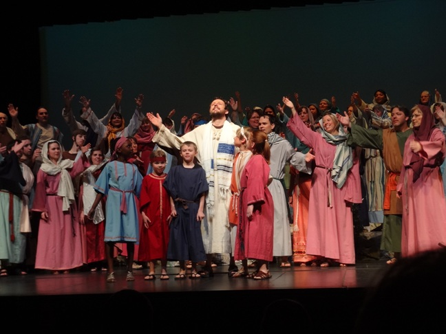 He is Risen! (My grandbeans stand on Christ's right at The Promise, Yorkton, 2014)