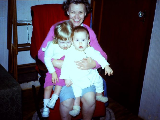 Pme pf my favourite pics of Mom in her younger years, two of my siblings on her lap.